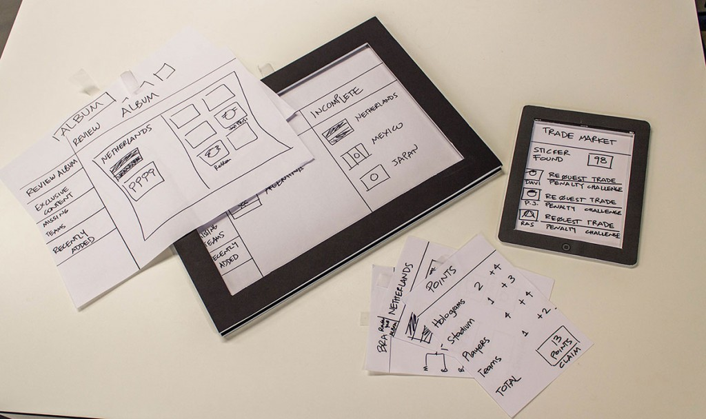 Prepared Client - app sketches on paper