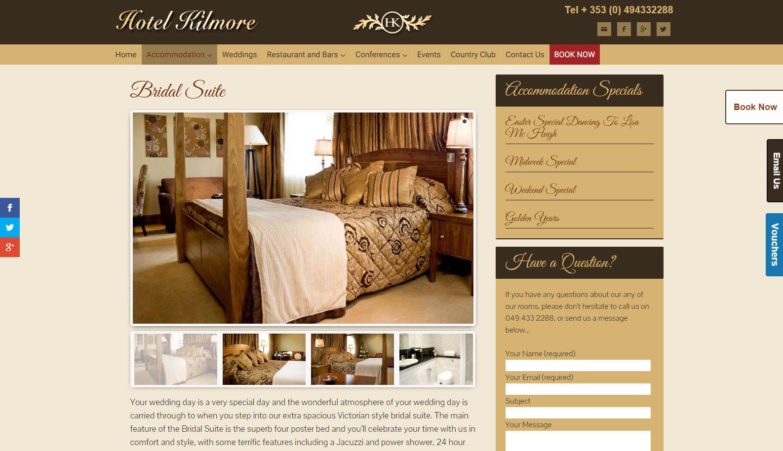 Hotel Kilmore Cavan Mobile Responsive Redesign Website