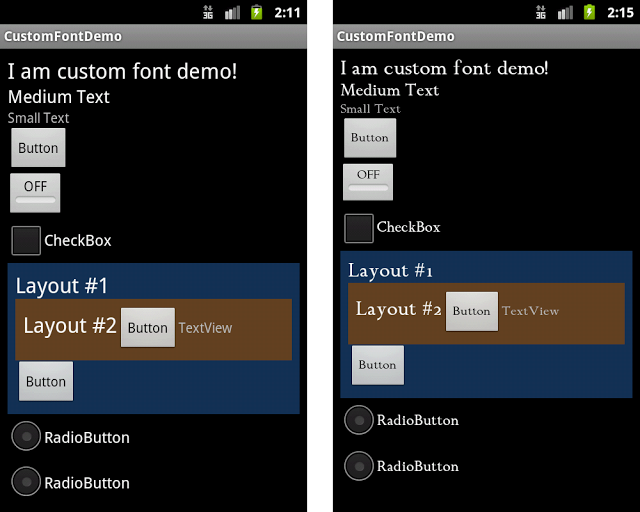 Before and After - Android Dev A Better Way To Apply Custom Fonts